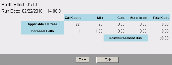 Print a summary of your marked call detail