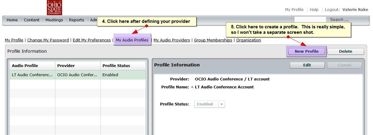 setting up audio profile