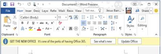 Example notification in Microsoft Word
